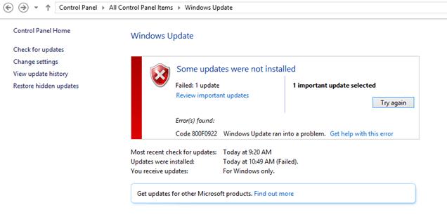 Windows10アップデートエラー800F0922を修正
