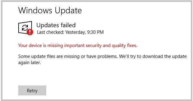 Windows 10:デバイスに重要な更新がありません