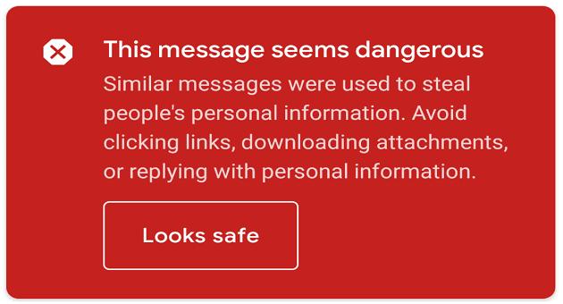 Gmail:このメッセージは危険なようです