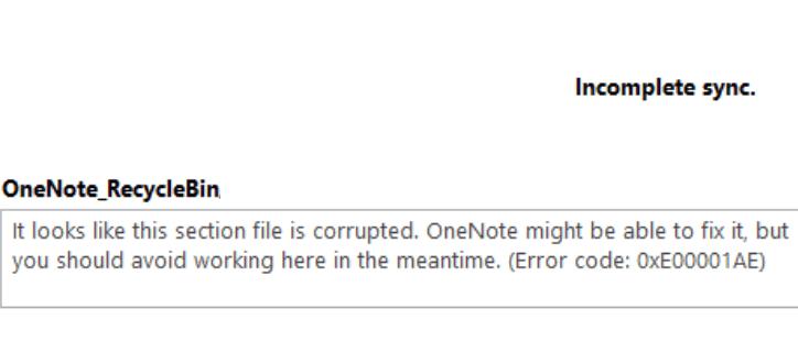 OneNoteエラーコード0xE00001AE–修正