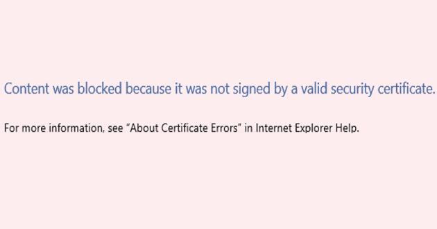 IE / Edge:コンテンツがブロックされ、セキュリティ証明書が無効