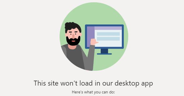Nhóm: Trang web này sẽ không tải trong ứng dụng máy tính để bàn của bạn