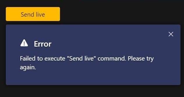 Teams Live:「SendLive」コマンドの実行に失敗しました