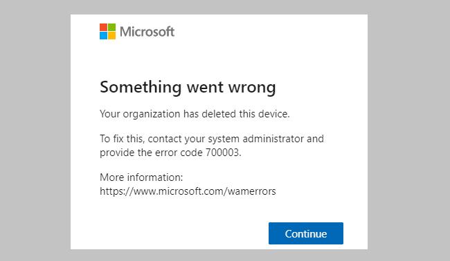 Office 365エラー70003を修正:組織がこのデバイスを削除しました