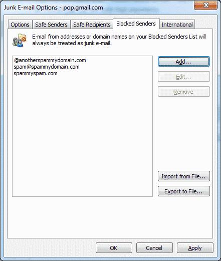 Outlook 2016および2013:メールアドレスとドメインをブロックする