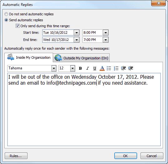 Outlookで不在時の返信を設定する方法